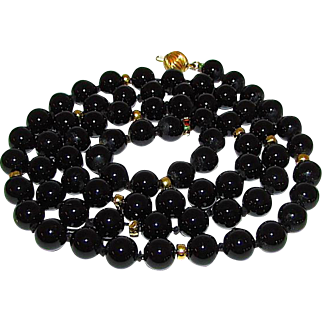 Vintage 14K Gold Black Onyx 8mm Beaded Necklace Estate Jewelry