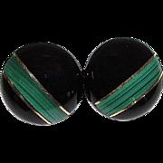 Vintage 14K Gold Onyx Malachite Post Earrings