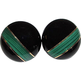 Vintage 14K Gold Onyx Malachite Post Earrings