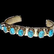 Native American Navajo Chimney Butte Nuguematz Sterling Silver 925 Turquoise Cuff Bracelet