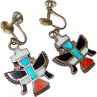 Old Pawn Zuni Sterling Turquoise Coral MOP Jet Knifewing Kachina Screw Back Earring Native American Jewelry
