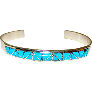 Native American Zuni Sterling Silver Sleeping Beauty Mine Turquoise Mosaic Inlay Bracelet by Gloria Tucson Signed Native American Jewelry