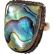 Art Deco Sterling Silver Abalone Shell Iridescent Statement Ring Size 6