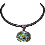 Vintage ATI Mexico Sterling Silver 925 Abalone Shell Iridescent Statement Choker Necklace