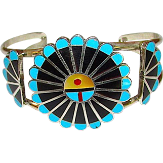 Vintage Zuni Sunface Inlaid Cuff Bracelet Sterling Turquoise Jet by Collectible Adrian Wallace Signed Native American Jewelry