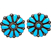 Vintage Old Pawn Native American Zuni Sterling Silver Turquoise Rosette Cluster Pierced Statement Earrings