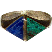 Taxco Mexican Sterling Silver 925 Malachite Lapis Ring Size 8 Art Deco Style Geometric Design
