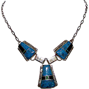 Native American Navajo J Charley Sterling Silver Lapis Opal Jet Channel Inlay Necklace
