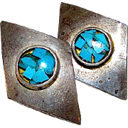 Taxco Mexican Sterling Silver 925 Turquoise Chip Inlay MOD Pierced Earrings Hallmark TE-20
