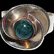 Vintage Art Nouveau Style Sterling Silver 925 Azurite Adjustable Statement Ring with Floral Design