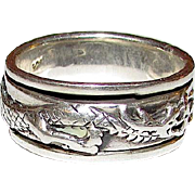 Vintage Sterling Silver 925 Dragon Spinner Band Statement Ring Size 9