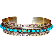 "Native American Zuni Sterling Silver Sleeping Beauty Mine Turquoise Cuff Bracelet ""Snake Eyes"" Tribal Hand Etched Design Signed"