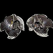 Vintage Carol Felley 1987 Sterling Silver 925 Orchid Flower Handcrafted Post Back Earrings