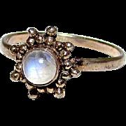 Vintage Sterling Silver 925 Moonstone Ring Sun Celestial Design Size 9
