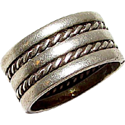 Navajo Sterling Silver Band Ring Size 7 Nora Tahe Hand Etched Design Signed Native American Jewelry