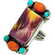 Vintage Navajo Sterling Silver Purple Spiny Oyster Coral Turquoise Statement Ring Size 6 Signed Native American Jewelry