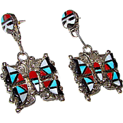 Zuni Sterling Silver Turquoise Coral Inlay Butterfly Dangle Earrings by highly collectible Herbert Esther Cellicion Museum Quality