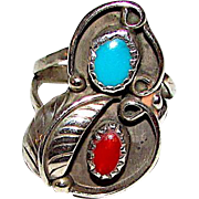 Navajo Sterling Silver Turquoise Coral Ring Size 5 Squash Blossom Design Old Pawn Native American