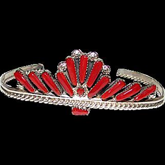 Zuni Sterling Silver Mediterranean Coral Cluster Rosette Cuff Bracelet Vintage Old Pawn Native American Bracelet