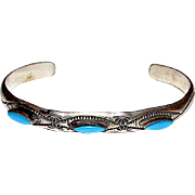 Old Pawn Zuni Sterling Silver Turquoise Cuff Bracelet Hand Etched tribal Design Vintage Native American Bracelet