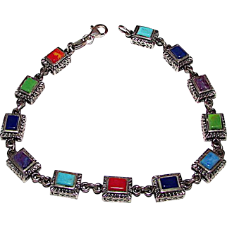 Sterling Silver 925 Turquoise Coral Semi Precious Stones Link Bracelet