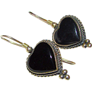 Taxco Mexican Sterling Silver 925 Onyx Heart Shaped Pierced Earrings