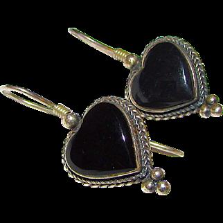 Taxco Mexican Sterling Silver 925 Onyx Heart Shaped Pierced Earrings
