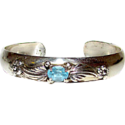 Carol Felley Sterling Silver 925 Blue Topaz Cuff Bracelet Floral Design Fine Estate Designer Jewelry