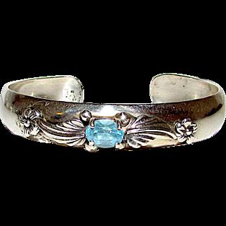 Carol Felley Sterling Silver 925 Blue Topaz Cuff Bracelet Floral Design Fine Estate Designer Jewelry