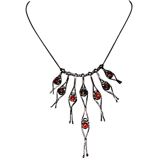 Sterling Silver 925 Amber Avant Garde Statement Necklace