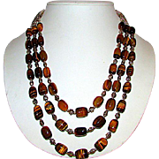 Sterling Silver 925 Tiger Eye Multi Strand Statement Necklace Adjustable Length