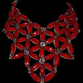 Vintage Egyptian Revival Statement Bib Necklace by Robert Rose Designer Hallmark