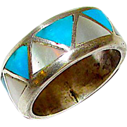 Native American Zuni Old Pawn Sterling Silver Turquoise MOP Inlay Ring Band Size 8.