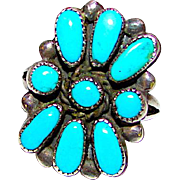 Vintage Old Pawn Native American Zuni Sterling Silver Sleeping Beauty Mine Turquoise Rosette Cluster Ring Size 8