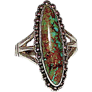 Vintage Old Pawn Native American Navajo Sterling Silver King Manassa Mine Turquoise Statement Ring Size 7.5