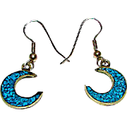TAXCO Mexican Sterling Silver Turquoise Chip Mosaic Inlay Half Moon Dangle Earrings Celestial Crescent Design