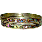 Pre Eagle Taxco Mexican Sterling Silver Abalone Shell Inlay Bangle Bracelets Set of 2