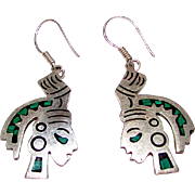 Taxco Mexican Sterling Silver Malachite Inlay Aztec Mayan Warrior Pierced Statement Dangle Earrings