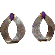 Navajo Sterling Silver 925 Amethyst Mod Statement Earrings Contemporary Design by Ben S Collectible Designer Estate Jewelry