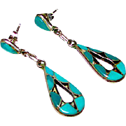 Vintage Zuni Sterling Silver Turquoise Inlay Pierced Dangle Earrings Old Pawn Native American Earrings 1940s