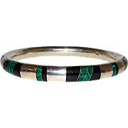 Taxco Mexican 950 Silver Malachite Onyx Inlay Bangle Bracelet Pre Eagle Mexican Sterling Silver 925 Bangle