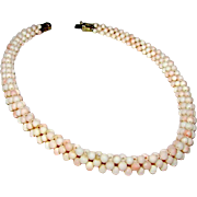 Vintage Angel Skin Coral Woven Necklace