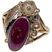 Navajo Sterling Silver Purple Spiny Oyster Ring Size 9 Squash Blossom Design by Nicholas Gambino Signed Native American Ring