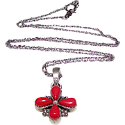 Southwestern Sterling Silver Coral Cross Pendant Necklace
