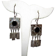 Taxco Mexican Sterling Silver Onyx Dangle Earrings Boho Chic Pierced Dangle Earrings