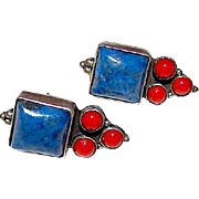 Navajo Sterling Silver Lapis Coral Pierced Post Earrings Native American Earrings