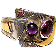 Vintage Navajo Sterling Silver 14k Gold Amethyst Ring Size 9 Moon Stars Contemporary Design Signed Native American Jewelry