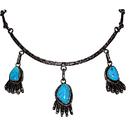 Navajo Sterling Silver Turquoise Necklace by Collectible Artist Angela Lee Native American Signed Necklace