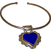 Taxco Mexican Sterling Silver 925 Lapis Heart Pendant Statement Necklace