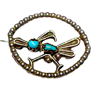 Old Pawn Zuni Sterling Silver Turquoise Roadrunner Brooch Pin Native American Vintage Brooch Sleeping Beauty Mine Turquoise 1940s